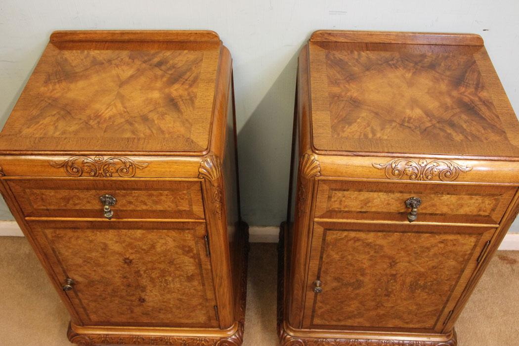 Pair Antique Burr Walnut ... - Antique Victorian, Georgian & Edwardian Furniture – The Antique Shop