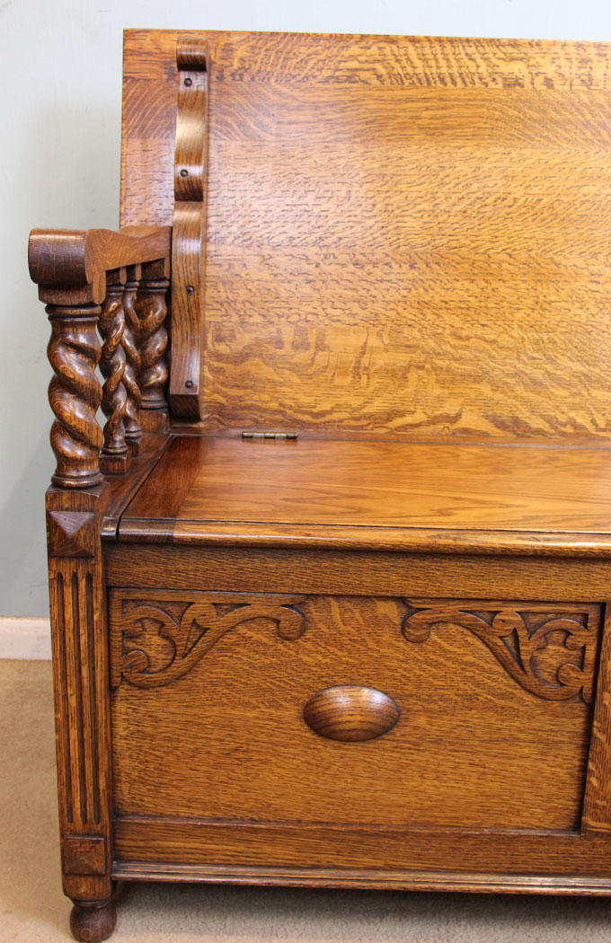 Oak 20th Century Monks Bench / Hall Chair ...