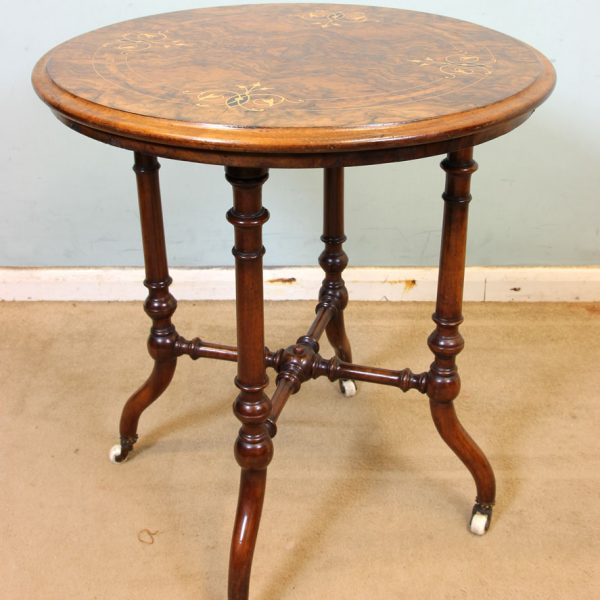 Victorian Antique Burr Walnut Inlaid Occasional Table