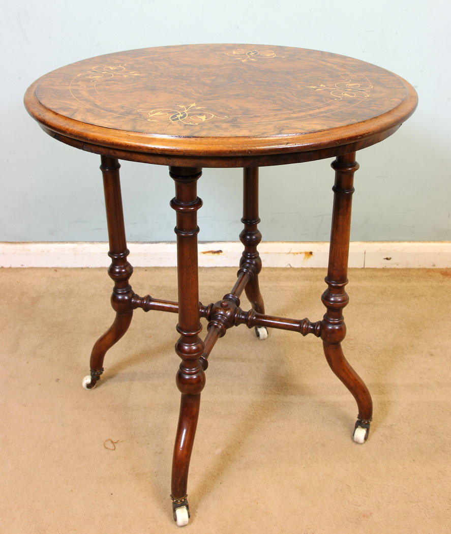 Antique victorian georgian edwardian furniture the antique shop victorian antique burr walnut inlaid occasional table aloadofball Image collections