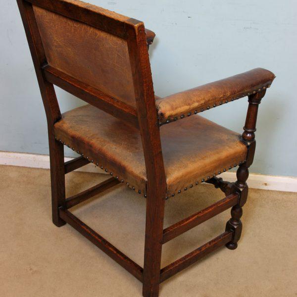 Antique Set 8 Oak Jacobean style Dining Chairs,