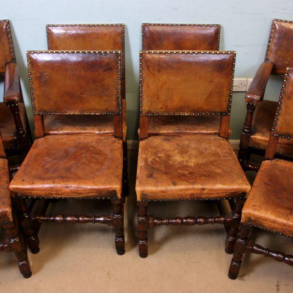 Cromwellian Style Antique Set 8 Oak Dining Chairs,
