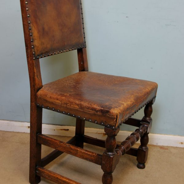 Leather Antique Set 8 Dining Chairs