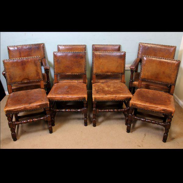 Set 8 Antique Oak Dining Chairs.