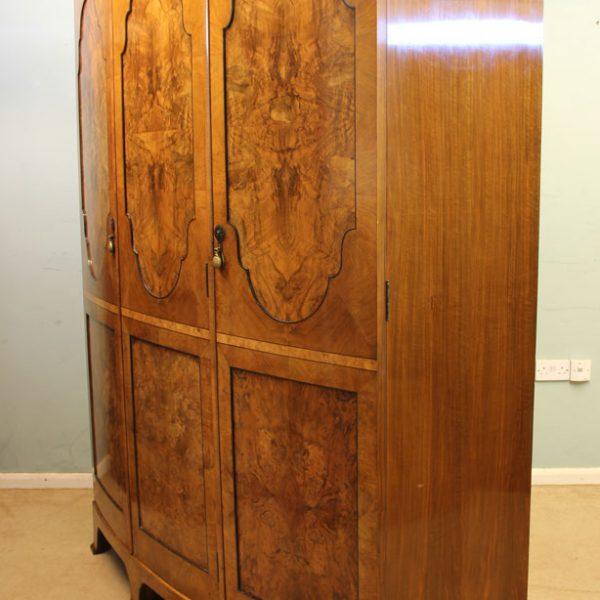 Antique Burr Walnut Triple Wardrobe