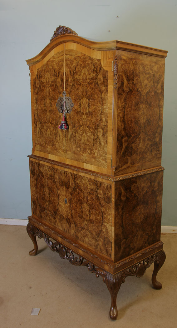 Antique Burr Walnut Cocktail Drinks Cabinet - Antique Victorian, Georgian & Edwardian Furniture – The Antique Shop