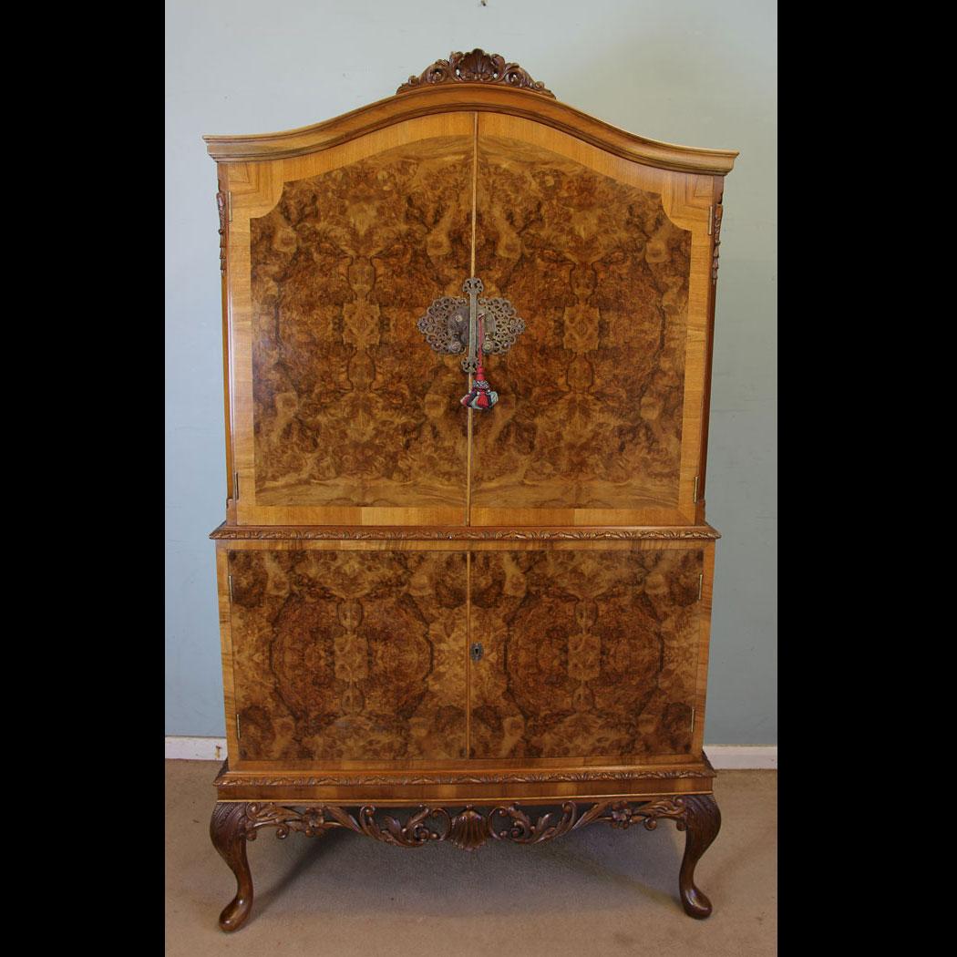 Antique Burr Walnut Cocktail Drinks Cabinet - Antique Victorian, Georgian & Edwardian Furniture – The Antique Shop