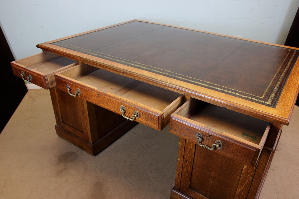 Antique Oak Partners Desk - Antique Victorian, Georgian & Edwardian Furniture – The Antique Shop