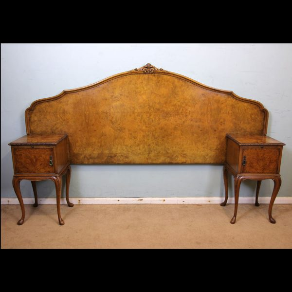 Antique Burr Walnut Headboard with Bedside Cabinets.