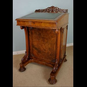 Burr Walnut Victorian Antique Davenport Writing Desk.