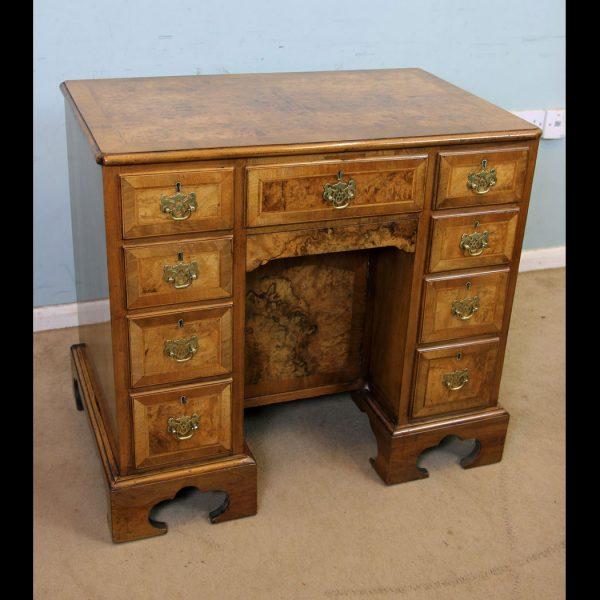 Antique Burr Walnut Queen Anne Style Desk