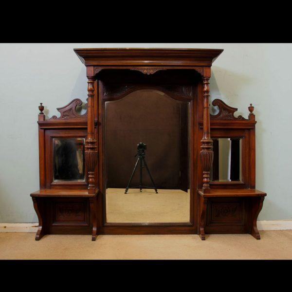 Antique Overmantle Victorian Mirror,