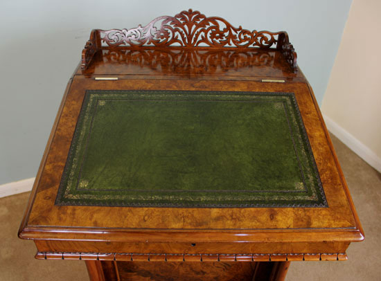 Antique Burr Walnut Victorian Davenport Writing Desk. - Antique Victorian, Georgian & Edwardian Furniture – The Antique Shop
