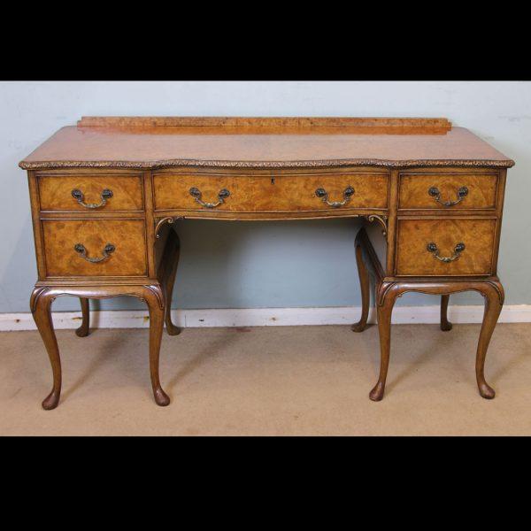 Antique Burr Walnut Shaped Dressing Table
