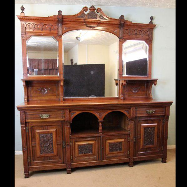 Antique Victorian Mahogany Mirror Back Sideboard