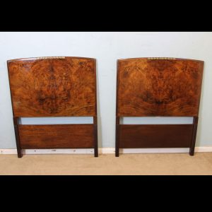 Pair Antique Burr Walnut Single Bed Headboards.