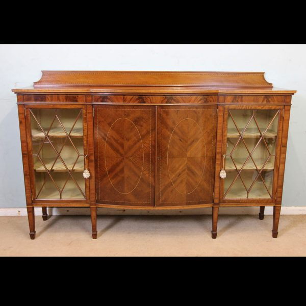 Antique Mahogany Inlaid Bow Fronted Bookcase / Display Cabinet.