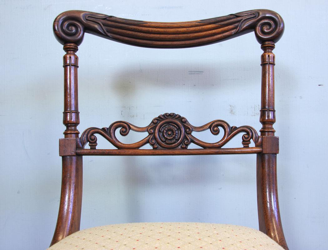 Pair Antique Regency Rosewood Side Chairs