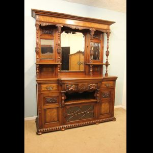 Antique Late Victorian Walnut Mirror Back Breakfront Sideboard.
