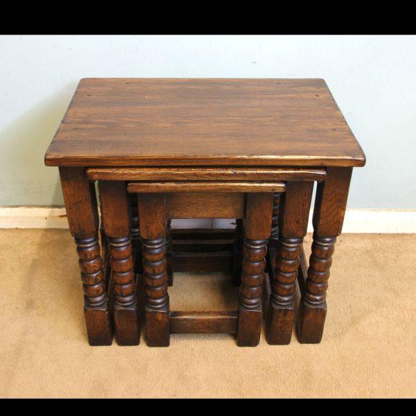 Antique Oak Nest Three Tables