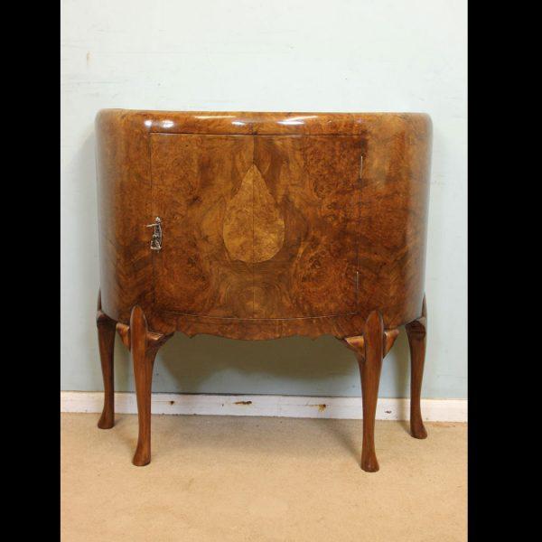 Antique Demi Lune Burr Walnut Side Cabinet