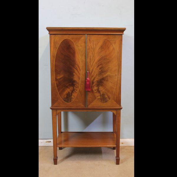 Antique Edwardian Inlaid Mahogany Side Cabinet