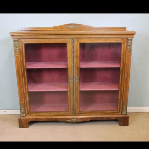 Antique Figured Walnut Display Cabinet.