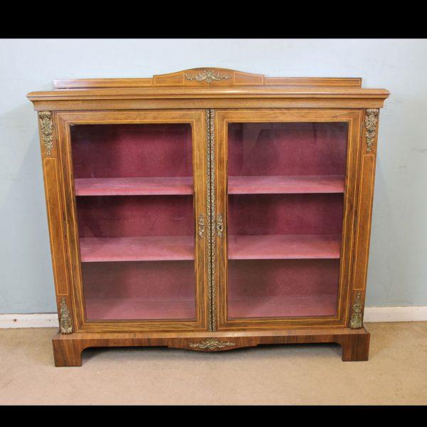 Antique Figured Walnut Display Cabinet.