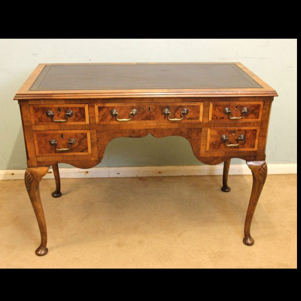 Antique Walnut Kneehole Writing Desk