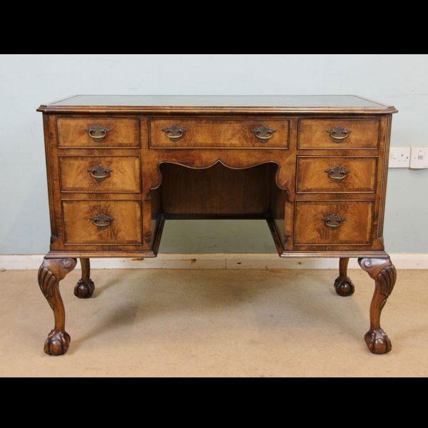 Antique Walnut Kneehole Writing Desk.