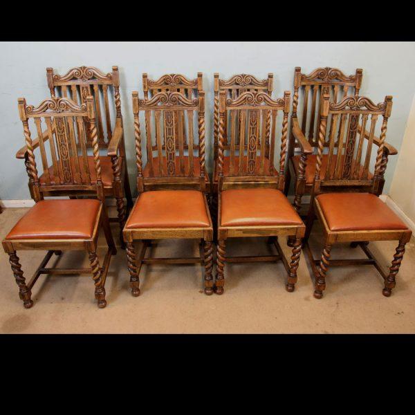 Set Eight Barley Twist Antique Oak Dining Chairs.