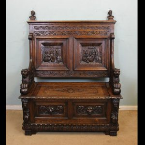 Antique Victorian Oak Settle Monks Bench Hall Seat,