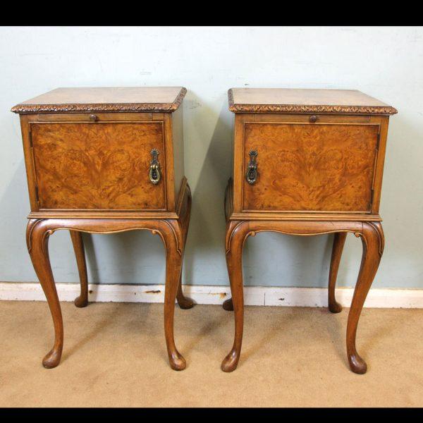 Antique Pair of Burr Walnut Bedside Cabinets