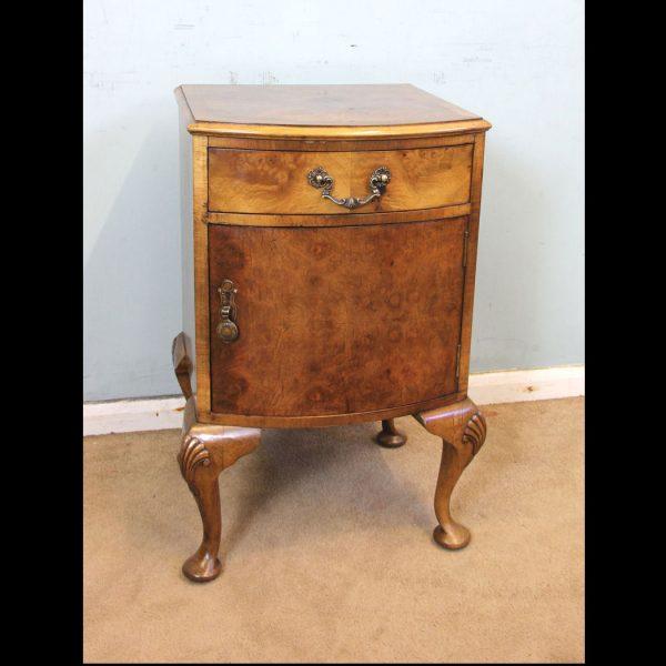 Antique Walnut Bedside Side Cabinet.