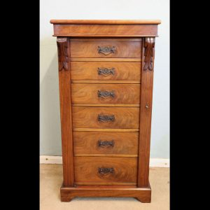 Antique Victorian Walnut Wellington Chest Drawers