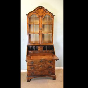 Antique Burr Walnut Bureau Bookcase.