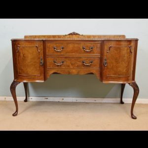 Queen Anne Style Burr Walnut Shaped Sideboard
