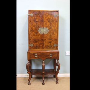 Antique Figured Walnut Side Cabinet, Drinks Cabinet