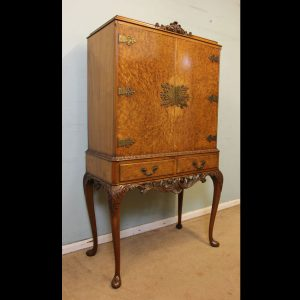 Burr Walnut Queen Anne Style Cocktail Drinks Cabinet