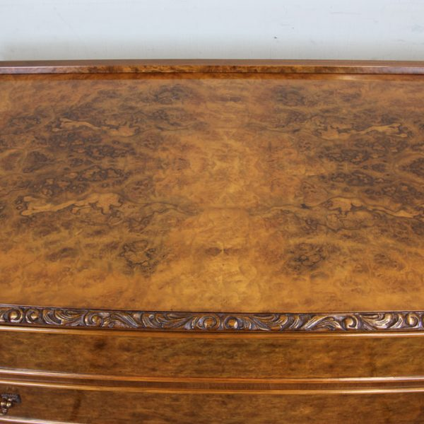 Burr Walnut Queen Anne Style Bow Fronted Chest of Drawers