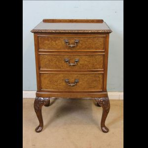 Burr Walnut Queen Anne Style Side Cabinet