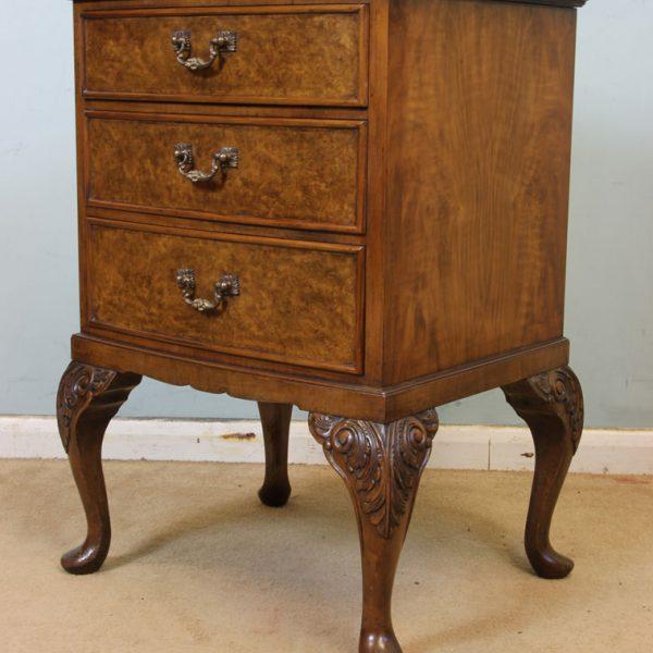 Burr Walnut Queen Anne Style Side Cabinet