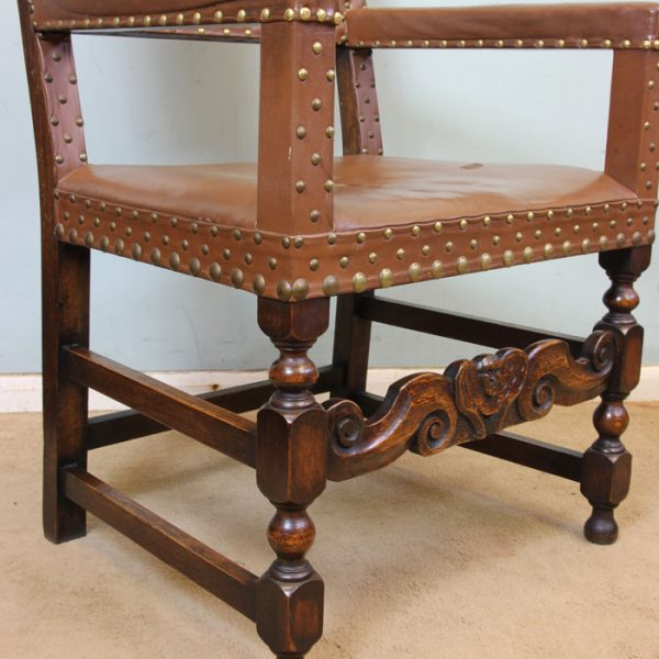 Antique Set of Six Oak Padded Back Dining Chairs
