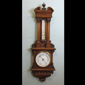 Antique Carved Oak Aneroid Barometer