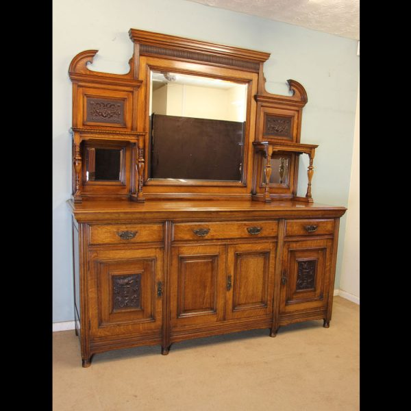Antique Oak Mirror Back Sideboard Dresser
