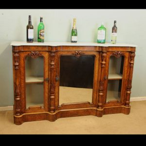 Antique Victorian Burr Walnut Credenza Sideboard