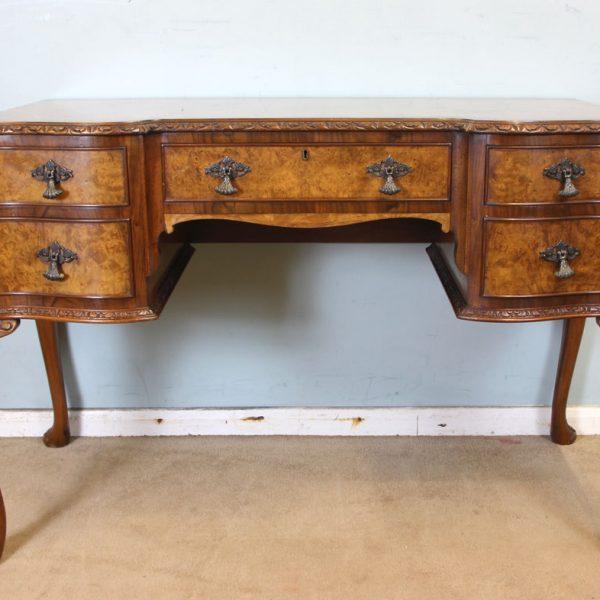 Burr Walnut Writing Side Table / Dressing Table