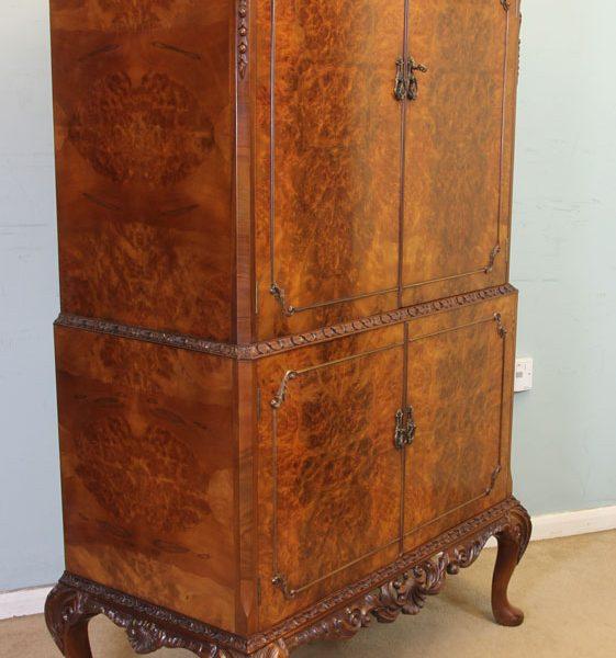Antique Burr Walnut Cocktail Drinks Cabinet