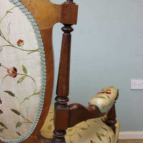 Antique Victorian Walnut Open Armchair.