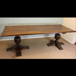 Antique Large Oak Refectory Farmhouse Dining Table.